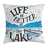 Cabin Decor Throw Pillow Cushion Cover by Ambesonne, Life is Better at the Lake Wooden Pier Plants Mountains Outdoors Sketch, Decorative Square Accent Pillow Case, 24 X 24 Inches, Blue Black Green