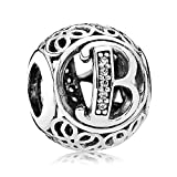 Everbling Vintage Letter B Clear CZ 925 Sterling Silver Bead Fits Pandora Charm Bracelet
