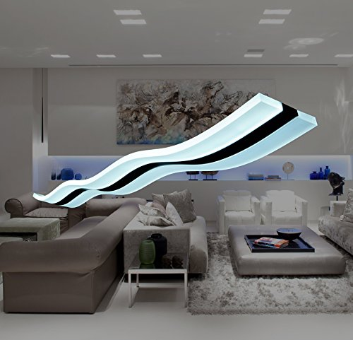 Modern.Place Modern Wave LED Pendant Lights Fixture Ceiling Chandelier Light Lighting Fixture for Contemporary Living Room Bedroom Dining Room (Cool White LED) - Contemporary Lighting Fixture Modern Hanging