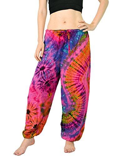 Orient Trail Women's Hippie Bohemian Yoga Pajama Tie dye Hippie Pants US Size 4-12 One Size Tie Dye Pink -