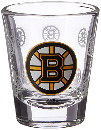 NHL Boston Bruins Satin Etch Shot Glass, 2-ounce, - Bruins Glass