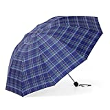 Guoke The Grid, Male, Folding Umbrella Very Large Business Umbrella Umbrellas With A Fine Two Umbrellas, Navy Blue-Green-Grid