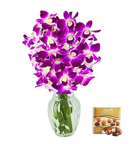 KaBloom Valentine's Day Special: The Ultimate Purple Orchid Bouquet of 10 Exotic Purple Dendrobium Orchids from Thailand with Vase