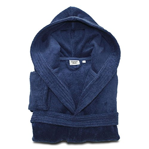 (Linum Kids Luxury Children's Hooded Bathrobe 100% Premium Turkish Terry Cotton Robe, Small, Midnight Blue)