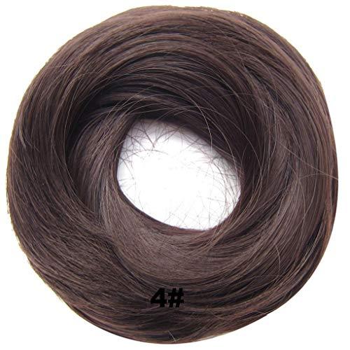 PrettyWit Hairpieces Short Curly Hair Extension Messy Bun Updo Chignons Piece Wig Scrunchy BridalMedium Brown 4