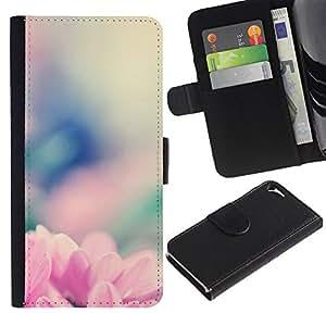 LASTONE PHONE CASE / Lujo Billetera de Cuero Caso del tirón Titular de la tarjeta Flip Carcasa Funda para Apple Iphone 5 / 5S / spring flower nature blurry floral