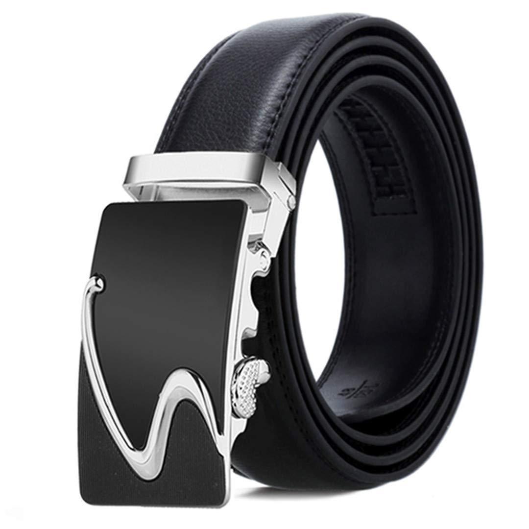 Mens Leather Belt Automatic Buckle Black Belt