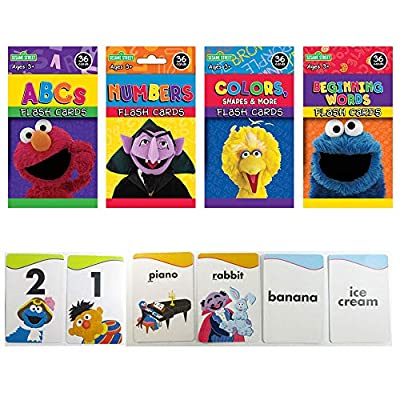 4 Sesame Street Flash Cards Beginning Words Numbers Colors Shapes Alphabet ABC !: Toys & Games