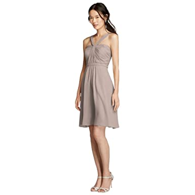 attractive price later get online David's Bridal Y-Neck Ruched Bodice Crinkle Chiffon Short Bridesmaid Dress  Style W10943