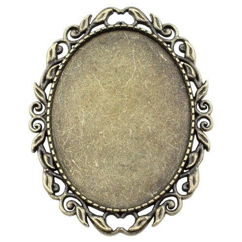 Fit 30x40mm Vintage Oval Blank Setting Bezel Blank Base Cabochon Brooch with Base For DIY Brooch 10pcs/lot