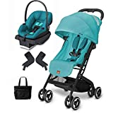 Goodbaby GB QBIT Capri Blue Asana Infant Car Seat and Stroller Travel System with Diaper Bag