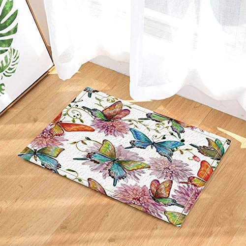 Watercolor Floral Ornament Wild Animal Butterfly and Floral White Background Anti-Slip Door mat Bathroom mat 4060CM