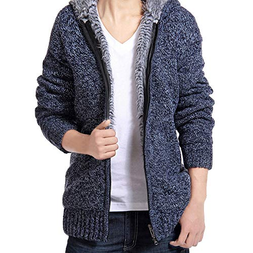Fastbot Mens Linen Shirts Long Sleeve Loose Autumn Winter Coats Hodded Casual Hoodies Sweater Coats Blouse Blue