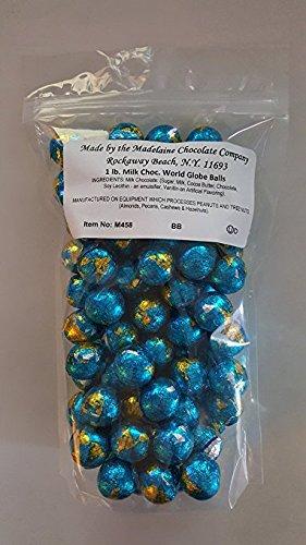 Madeline Chocolate Company Globe Foiled Milk Chocolate Earth Balls (Chocolate Ball Candy)