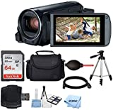 Canon VIXIA HF R800 Camcorder (Black) + SanDisk 64GB Memory Card + Digital Camera/Video Case + Quality Tripod + Card Reader + Tabletop Tripod/Handgrip + Deluxe Accessory Bundle