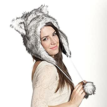 Faux FUR ANIMAL HATS HOODS WOLF SNOW WINTER WHITE Ski WITH Poms UNISEX