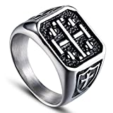 Dixinla Rings Steel , European and American Fashion Personality Retro Punk Men's Cross Titanium Steel Ring Jewelry Gift for Family or Friends