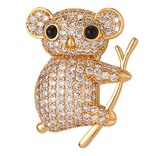 Cute Koala Bear Brooches with Cubic Zirconia 18K Gold Plated Fashion Animal Design Accessories Women
