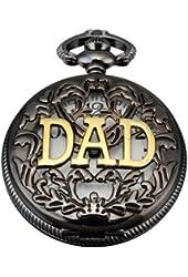 AMPM24 Women Mens Dad Black Dangle Pendant Pocket Quartz Watch Gift + Chain WPK051