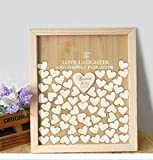Wood Wedding Guest Book Alternative Heart Drop Engraved to Love Laughter and Happy Ever After Wedding Guestbook Shadow Box 40 x 50 for 150 Guests