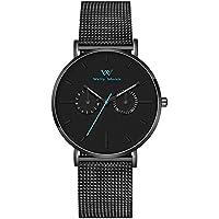 [Sponsored] Welly Merck Men Swiss Quartz Movement Subdials Luminous Black Watch with a Blue Seconds Needle 20mm Mesh Strap Band 164ft Water Resistant