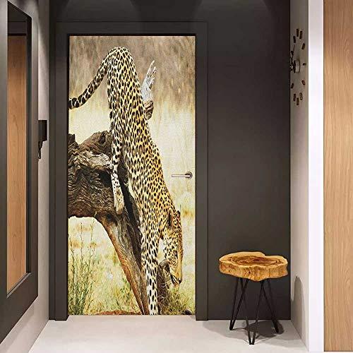 Front Door Sticker Safari Leopard On Tree Trunk Desert Plants Exotic Hunter Predator Big Cat Image for Home Decor W38.5 x H77 Yellow Green Brown