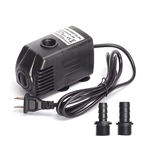 CoHome 400 GPH (1500L/H) 25W Submersible Water Pump Adjustable Flow pump For Aquarium ,Fish Tank , Pond, Indoor Outdoor Water Garden, Small Fountain Water Pump Hydroponics with Two Nozzles