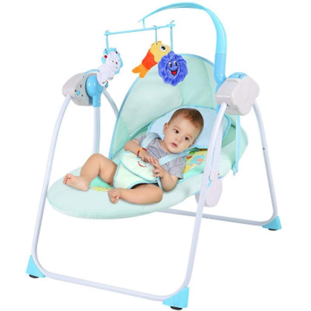 RENKUNDE Baby Electric Rocking Chair, Blue Baby Shaker, Suitable for 0-2 Years Old Comfortable Chair Bed Baby Rocking Chair by RENKUNDE