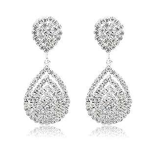 Long Way Bridal Wedding Jewelry Beautiful Dazzle Crystal Dangle Fashion 3D Earring Silver Plated
