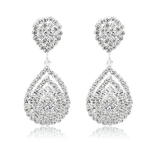 Crystal Fashion Dangle Earrings - Long Way Bridal Wedding Jewelry Beautiful Dazzle Crystal Dangle Fashion 3D Earring Silver Plated
