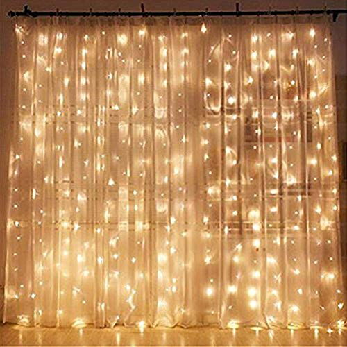 Twinkle Star 300 LED Window Curtain String Light Wedding Party Home Garden Bedroom Outdoor Indoor Wall Decorations, Warm White (Polaroid Glow In The Dark)