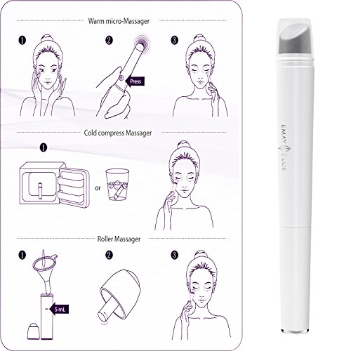 3-in-1 Eye and Facial Massager Wand.Cold compress,Heated Vibration and Roller Eye Massager Wand Anti-aging Device. by Emay Plus (Image #6)
