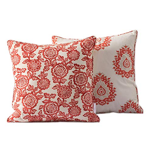 Livng Coral Damask Floral Decorative Throw Pillow Covers for Couch Sofa Home Decor, Washable Soft Canvas Cushion Cases (Set of 2, 18 X 18 Inches)