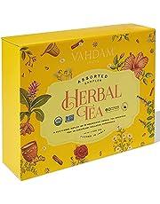VAHDAM, Organic Herbal Tea Variety Sampler Pack   6 Flavors - 10 Tea Bags Each   Assorted Herbal Tea Gift Set   100% Natural   Healthy Tea Gift Box   60 Long Leaf Pyramid Tea Bags