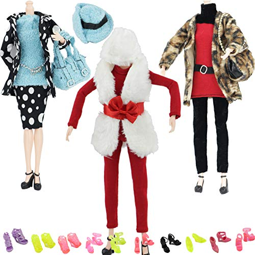 "MIBBQ 13 Doll Christmas Clothes and Shoes Set 3pcs Winter Casual Wear Outfits 10 Pairs Shoes Boots for 11.5"" Barbie Dolls Girls Christmas Birthday Gift"