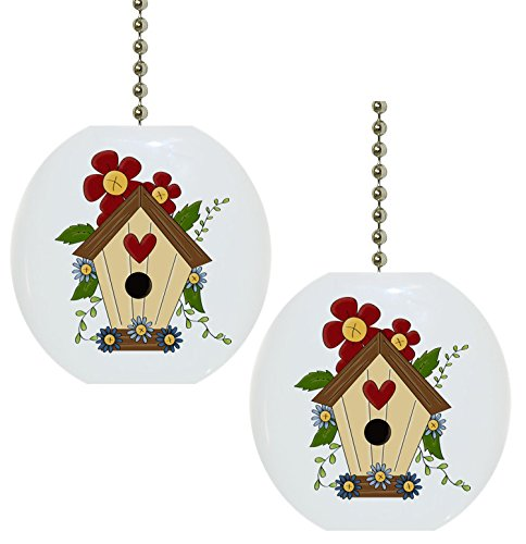 Set of 2 Birdhouse Flower Floral Country Solid Ceramic Fan Pulls