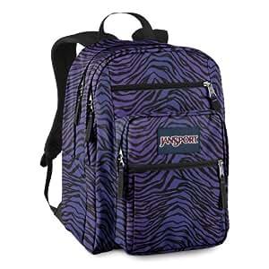 JanSport Big Student Backpack (Black/Prism Purple Flashback Zebra)