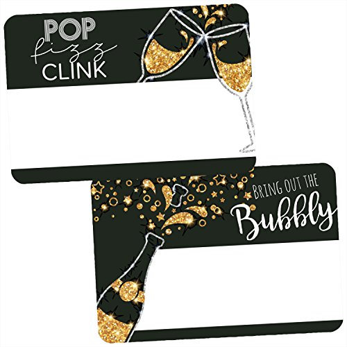 Avery Premium Celebration Party Name Tags, Black and Gold, Pop Fizz Clink, No Lift No Curl, 36 Handwriteable Name Stickers -