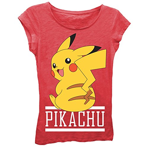Pokemon Big Girls Pikachu Short-Sleeved Tee, Red, M -