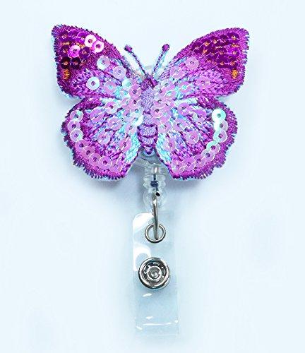LOVEKITTY ® - Embroidered Butterfly Bling Bling Retractable ID Badge Reel / Name Badges / ID Badge Holder / Doctor Nursing Badge / Teacher Nurse Great Gift Idea