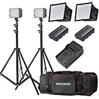 Neewer Two Pieces CN-216 Dimmable Ultra High Power Panel LED Video Light Lighting Kit with Carrying Bag for Canon,Nikon,Pentax,Panasonic,SONY,Samsung,Olympus and Other DSLR Cameras