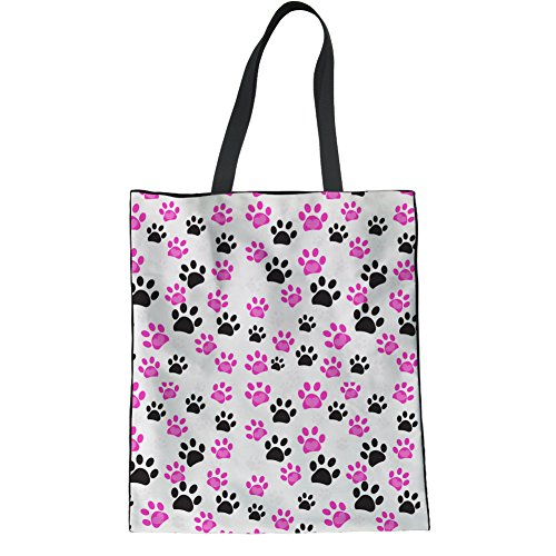 Coloranimal Cute Westie Flower Print Womens Linen Tote Bag Reusable Handbag Pink Paws