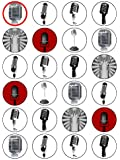 """X24 1.5"""" Vintage Microphone Birthday Cup Cake Toppers Decorations on Edible Wafer Rice Paper"""
