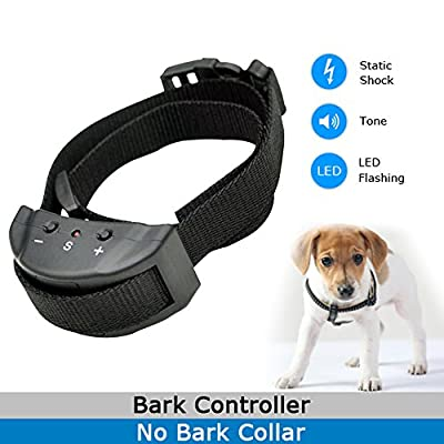 Thanin Anti Bark Dog Collar Automatically Stop Bark Training System with 7 Levels Button Adjustable Sensitivity Control,Beeper and Static Shock Safety Bark Collar