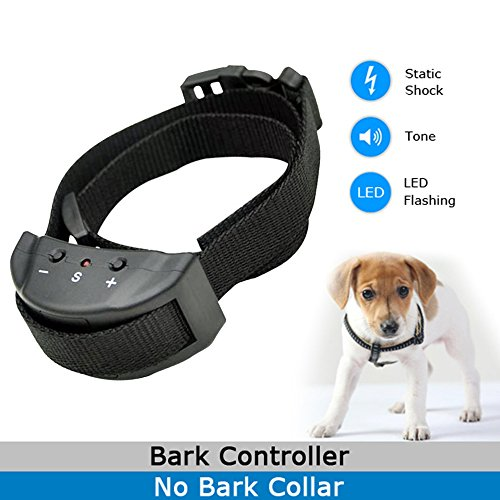 [Thanin Anti Bark Dog Collar Automatically Stop Bark Training System with 7 Levels Button Adjustable Sensitivity Control,Beeper and Static Shock Safety Bark] (Daft Punk Without Costumes)