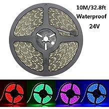 Topled light® 10m 32.8FT Color Changing Flexible LED Strip Light 5050 SMD 600 LEDs RGB IP65 Waterproof LED Light Strip Rope Light DC 24V Decorative LED Lighting for Seasonal Decoration