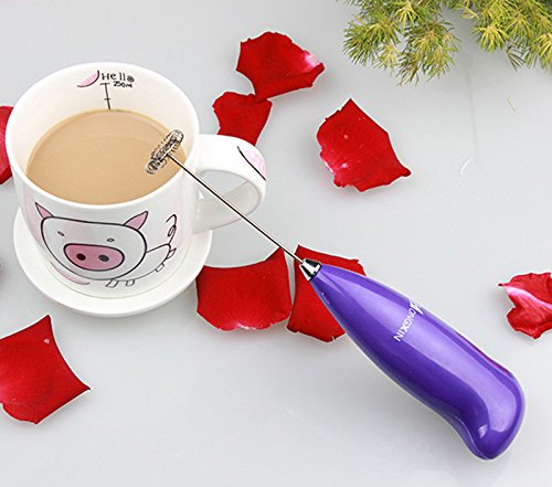 Saying Hot Drinks Milk Frother Mixer Stirrer Egg Beater Egg Beater Milk Frother Mixing Cooking Tools with Turbo Beater for Cappuccino/Coffee/Hot Chocolate, Handheld Electric Mixer (Purple)