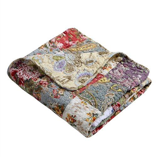(MyEasyShopping Red Green Blue Purple Yellow White 100-Percent Cotton Floral Patchwork Quilt Throw Blanket Blanket Throw Quilt Handmade Afghan Crochet Vintage Quilted Granny Lap)