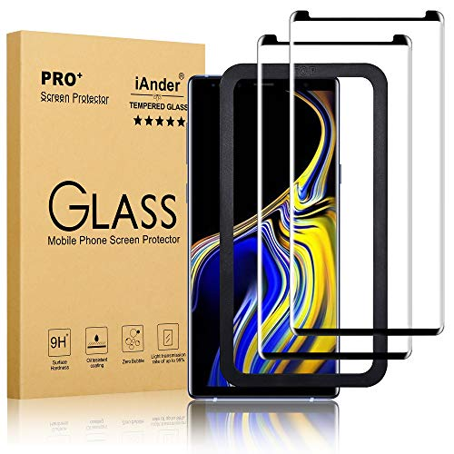 iAnder [2-Pack] Galaxy Note 9 Screen Protector - 3D Curved [Tempered Glass] Screen Protector with [Frame Easy Installation Tray] for Galaxy Note 9 [Case Friendly]