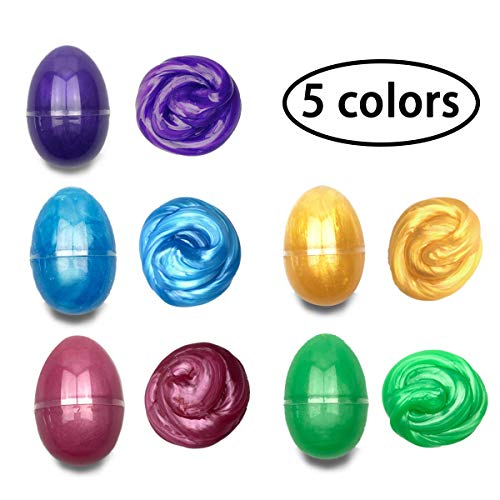 QINGQIU 5 Colors Slime Eggs Easter Egg Toys for Kids Boys Girls Easter Basket Stuffers Fillers Gifts Party Favors